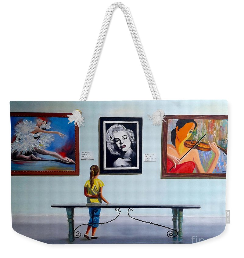 Dancing Weekender Tote Bag featuring the painting I want to be by Jose Manuel Abraham