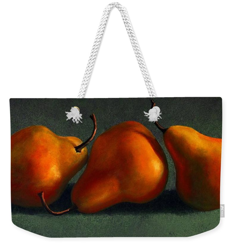 Still Life Weekender Tote Bag featuring the painting Three Golden Pears by Frank Wilson