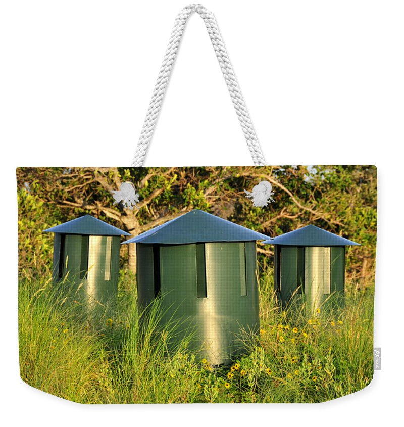 Fine Art Photography Weekender Tote Bag featuring the photograph Three Mushrooms by David Lee Thompson