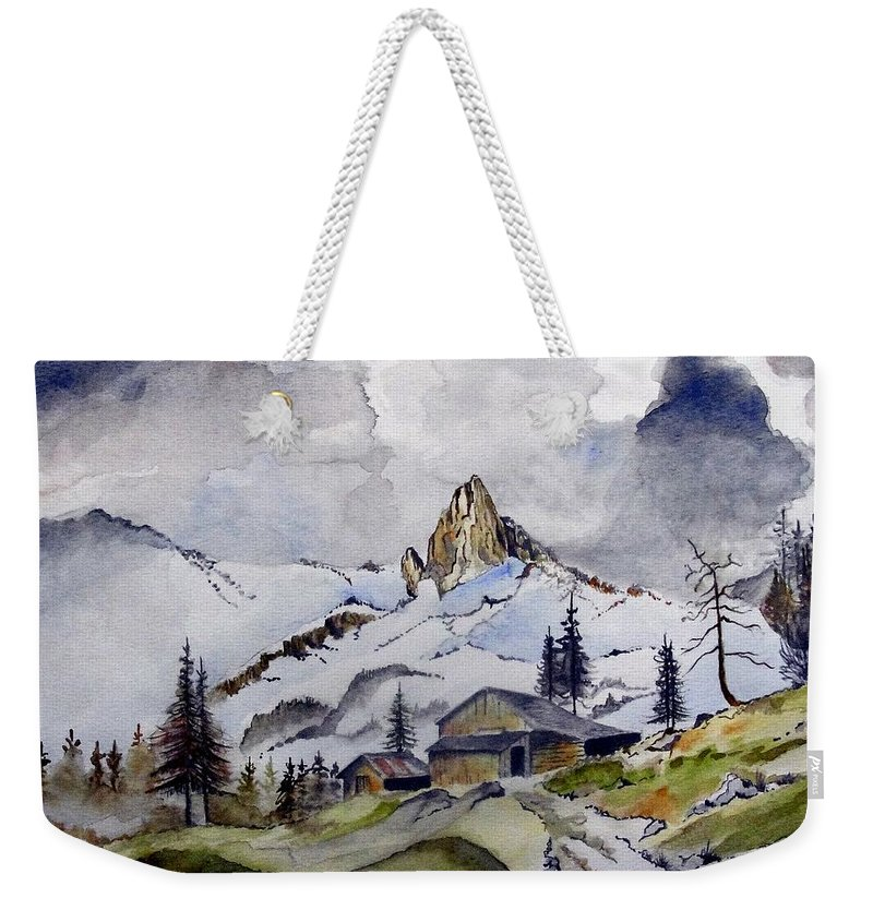 Cabin Weekender Tote Bag featuring the painting Tigers Tooth Peak by Jimmy Smith