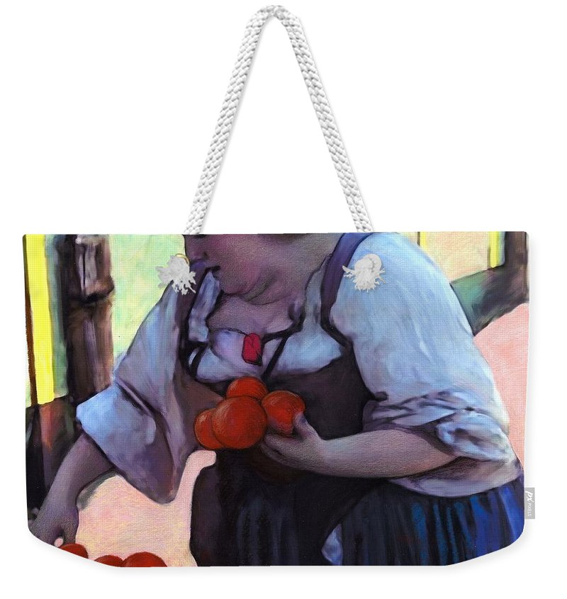 Tomatoe Weekender Tote Bag featuring the digital art Tomatoe Lady by Snake Jagger