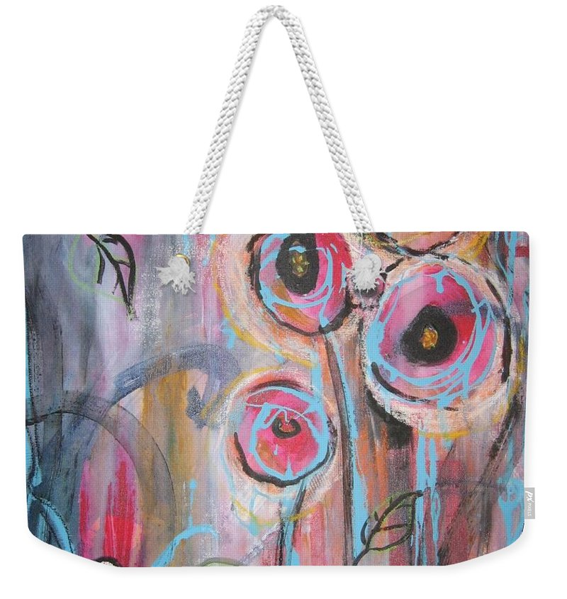 Aabstract Paintings Weekender Tote Bag featuring the painting Too Many Temptations by Seon-Jeong Kim