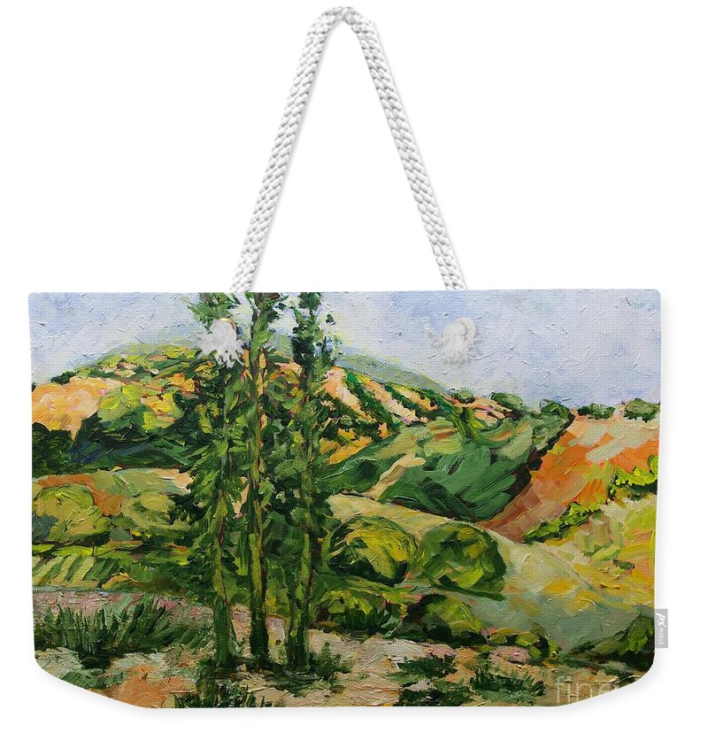 Landscape Weekender Tote Bag featuring the painting Top of the Hill by Allan P Friedlander