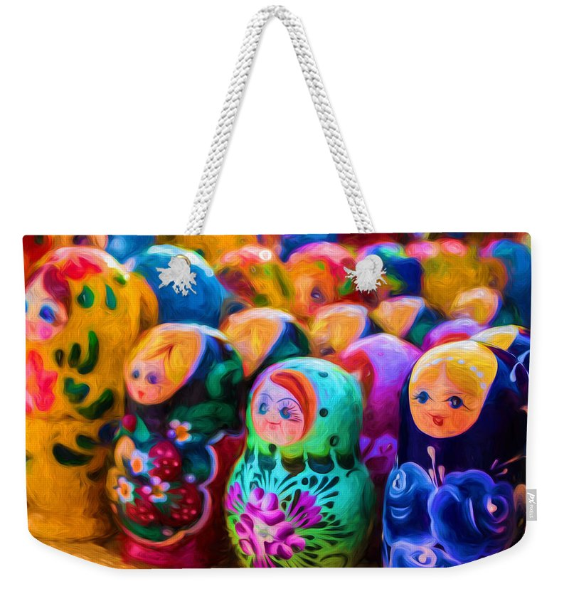 Matryoshka Weekender Tote Bag featuring the photograph Family Of Mother Russia Matryoshka Dolls Oil Painting Photograph by John Williams