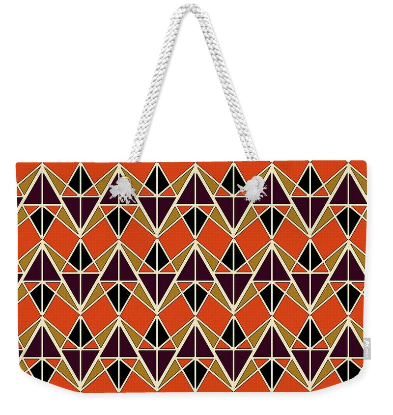 Triangles Weekender Tote Bag featuring the digital art Triangles Pattern by Gaspar Avila