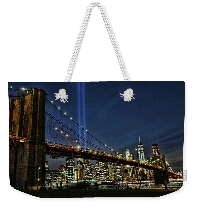 Tribute In Light Weekender Tote Bag featuring the photograph Tribute In Light # 1 by Allen Beatty