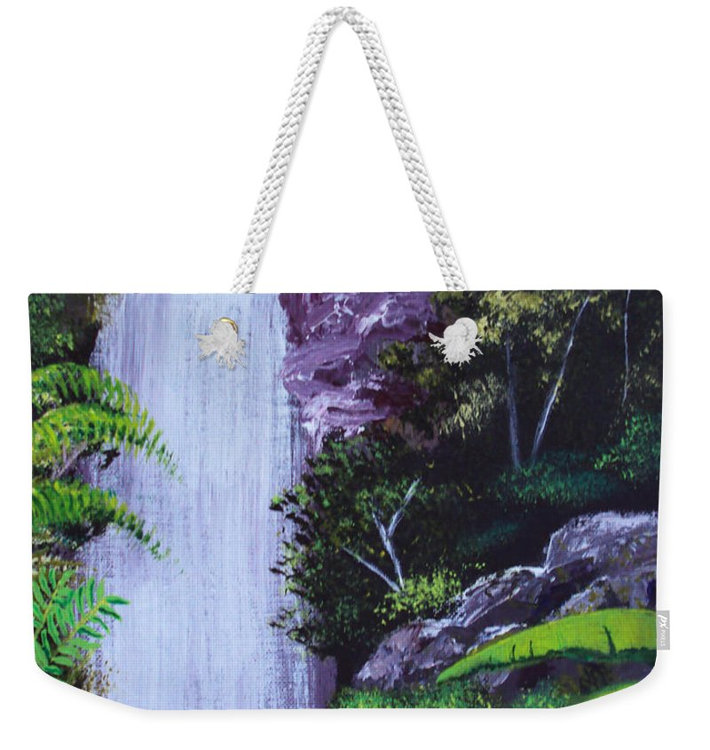 Tropical Weekender Tote Bag featuring the painting Tropical Waterfall by Luis F Rodriguez