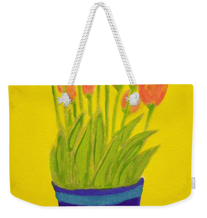 Portrait Weekender Tote Bag featuring the painting Tulips by Audra Smith