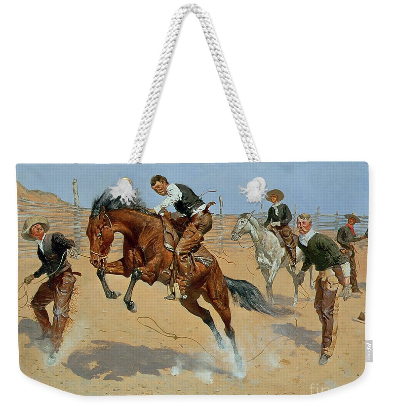 Turn Him Loose Weekender Tote Bag featuring the painting Turn Him Loose 1 by Frederic Remington