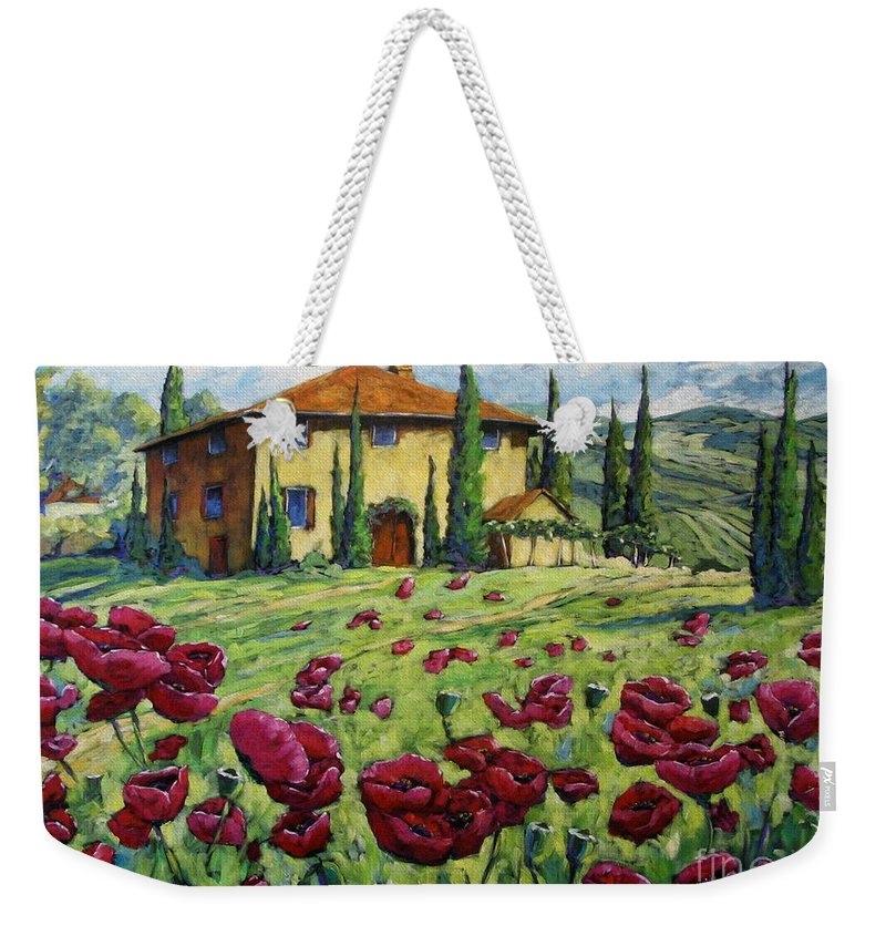 Art Weekender Tote Bag featuring the painting Tuscan Poppies by Richard T Pranke
