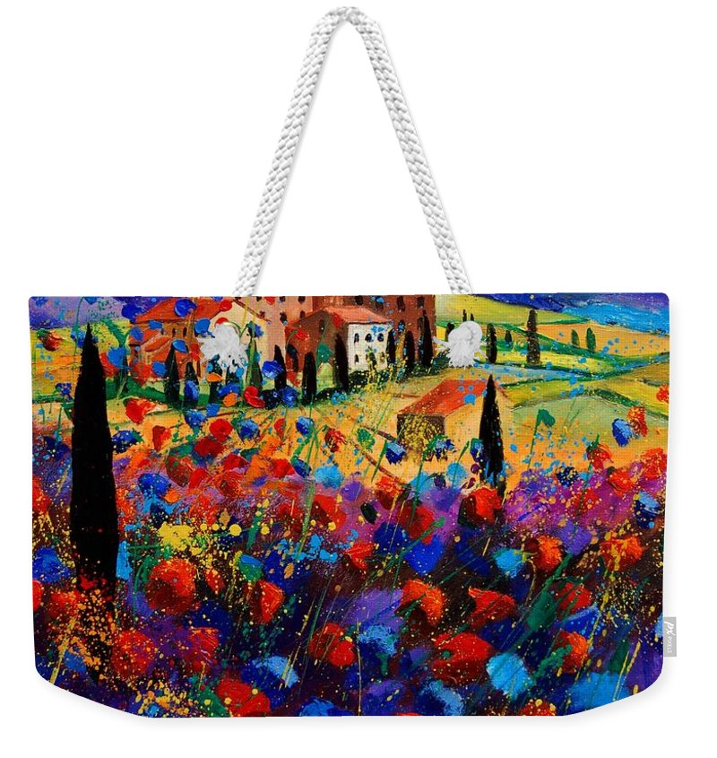 Flowers Weekender Tote Bag featuring the painting Tuscany Poppies by Pol Ledent