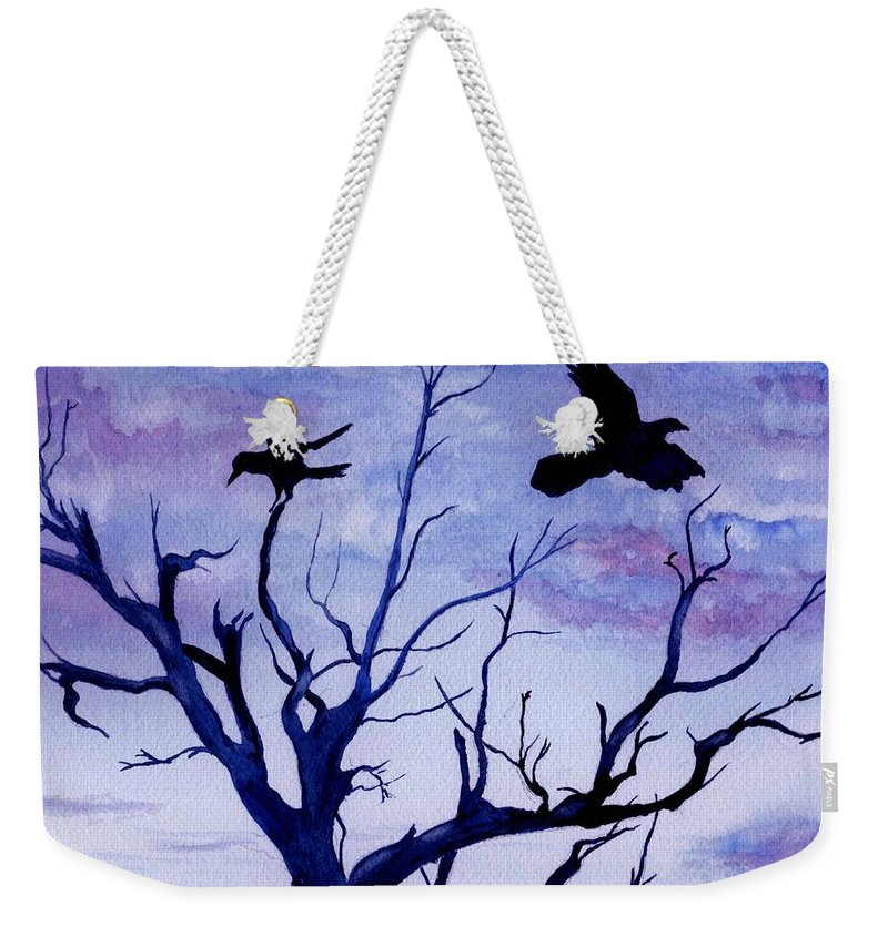 Watercolor Landscape Birds Raven Crow Flight Tree Sunset Sky Blue Clouds Scenic Weekender Tote Bag featuring the painting Twilight Flight by Brenda Owen