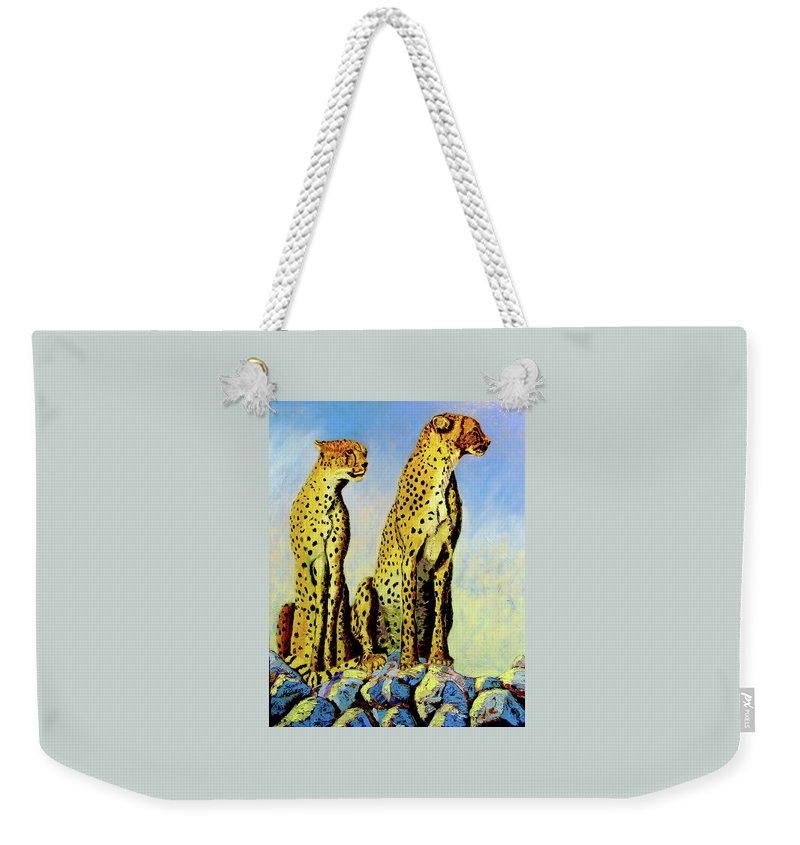 Cheetahs Weekender Tote Bag featuring the painting Two Cheetahs by Stan Hamilton
