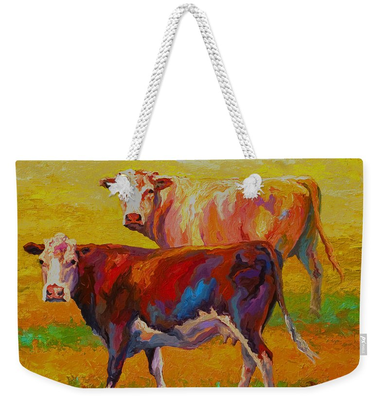 Cows Weekender Tote Bag featuring the painting Two Cows by Marion Rose