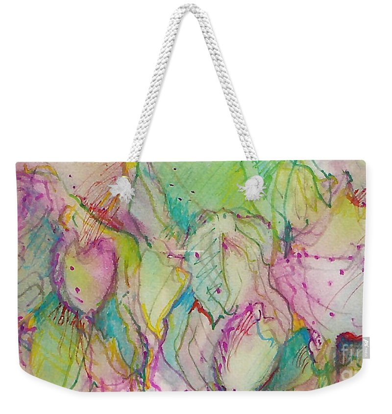 Abstract Weekender Tote Bag featuring the painting Two Lips by Jan Bennicoff