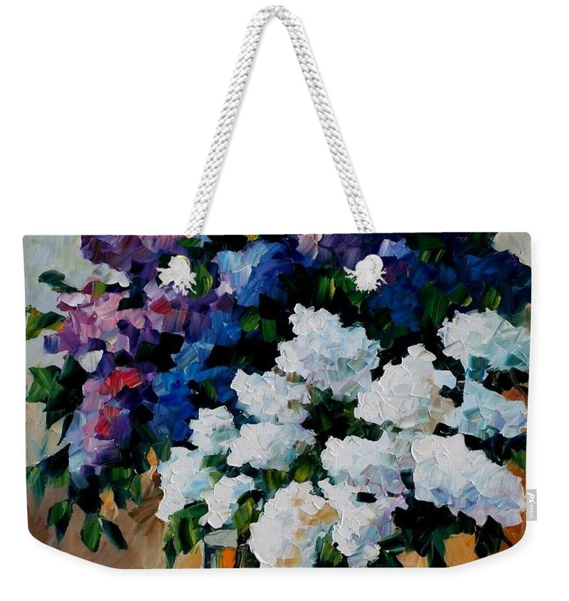 Afremov Weekender Tote Bag featuring the painting Two Spring Colors by Leonid Afremov