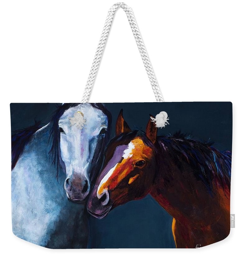 Horses Weekender Tote Bag featuring the painting Unbridled Love by Frances Marino