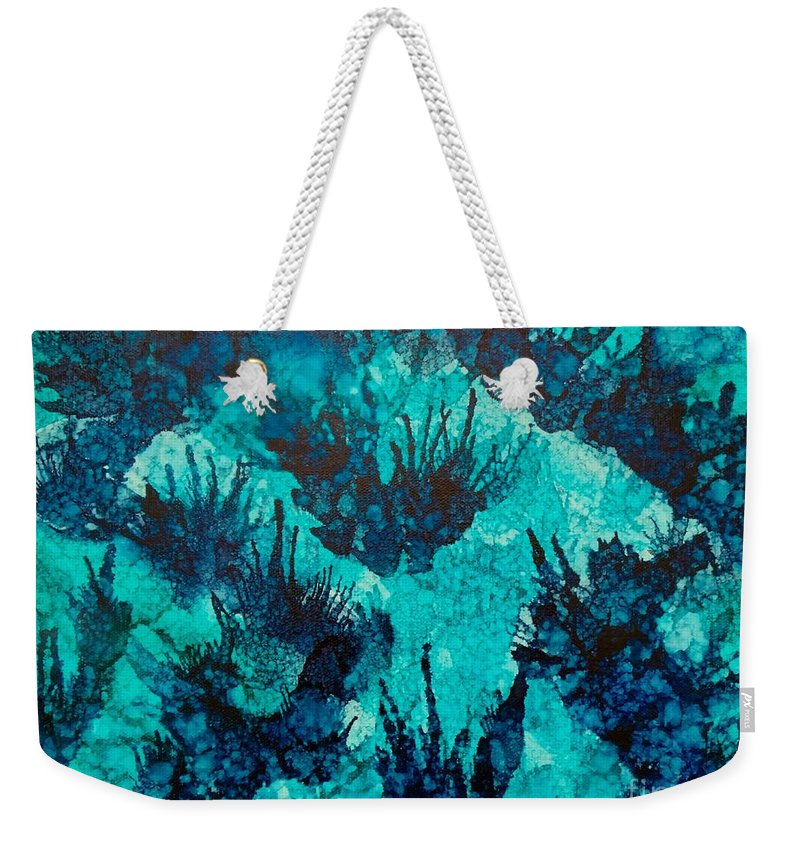 Ocean Weekender Tote Bag featuring the painting Under Water by Miki Bennett