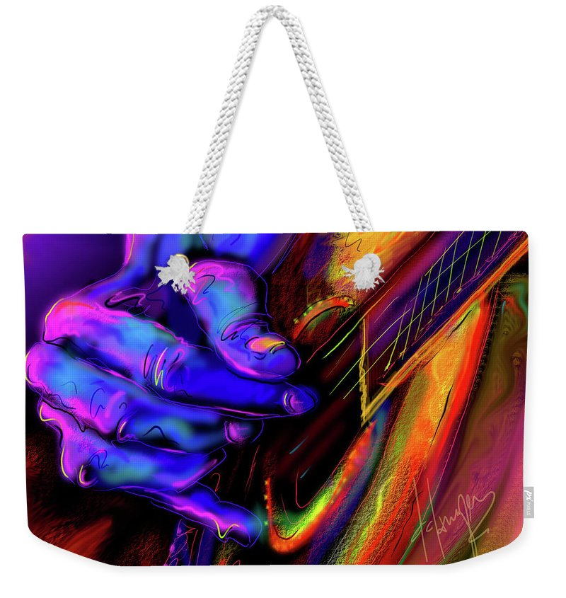 Guitar Weekender Tote Bag featuring the painting Unplugged by DC Langer