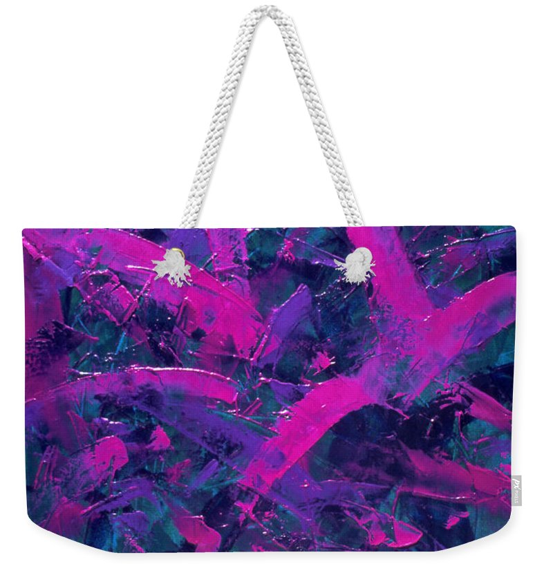 Abstract Weekender Tote Bag featuring the painting Transitions with Turquoise, Lavender and Magenta by Dean Triolo