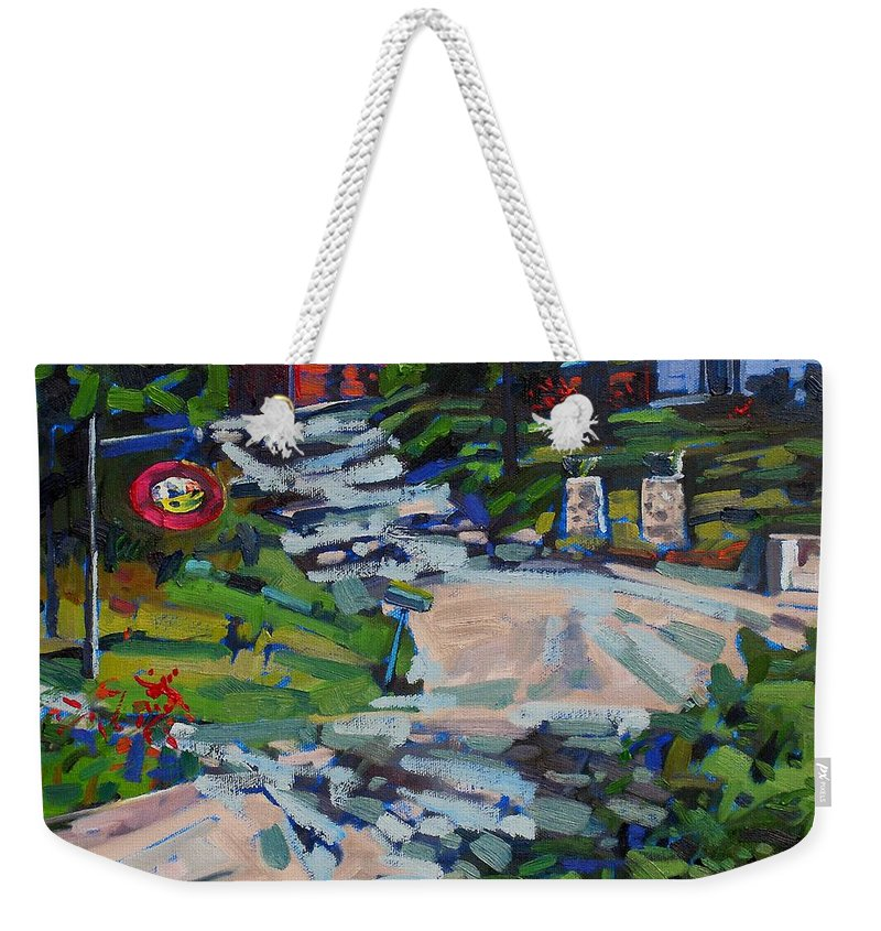 33 Weekender Tote Bag featuring the painting Uphill In Rockport by Phil Chadwick