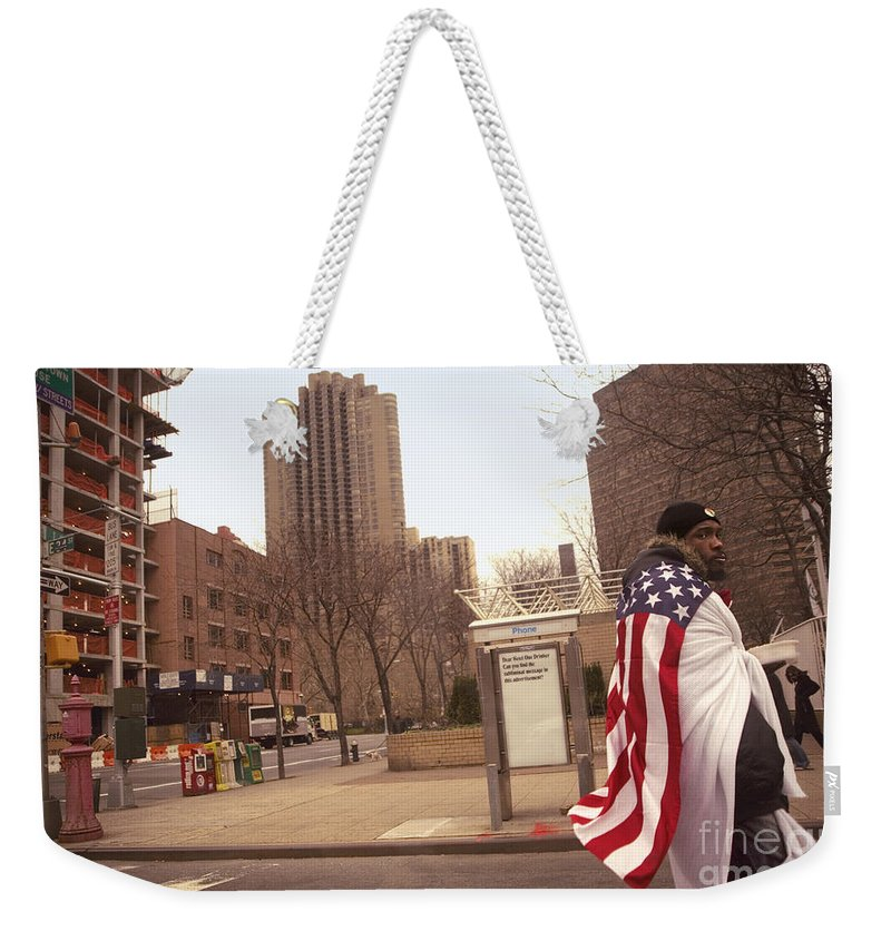 Man Weekender Tote Bag featuring the photograph Urban Flag Man by Madeline Ellis