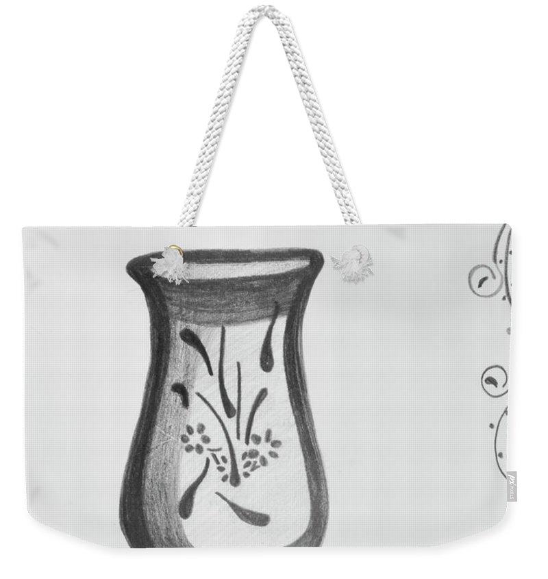 Vase Weekender Tote Bag featuring the drawing Vase by Lynette Fekete