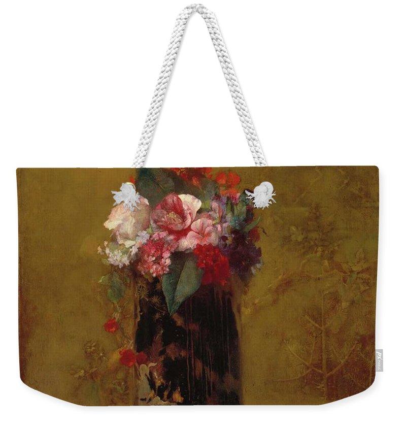 Vase Of Flowers 1864 John La Farge (american Weekender Tote Bag featuring the painting Vase Of Flowers by John La Farge