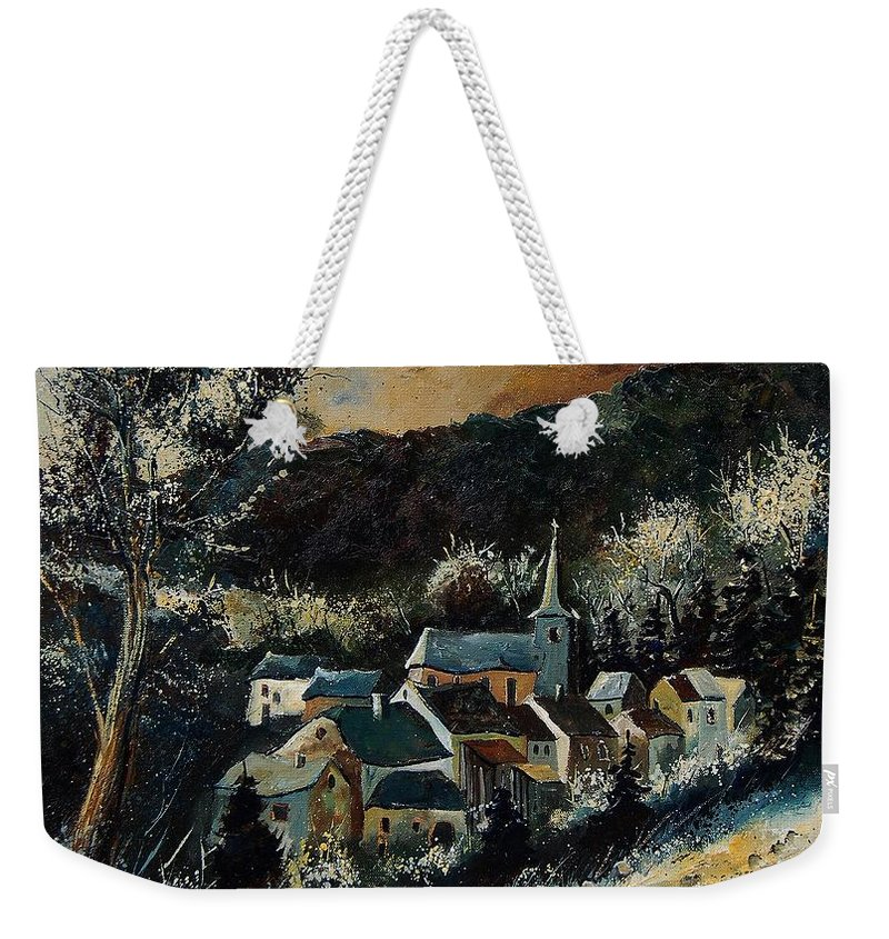 Tree Weekender Tote Bag featuring the painting Vencimont 78 by Pol Ledent