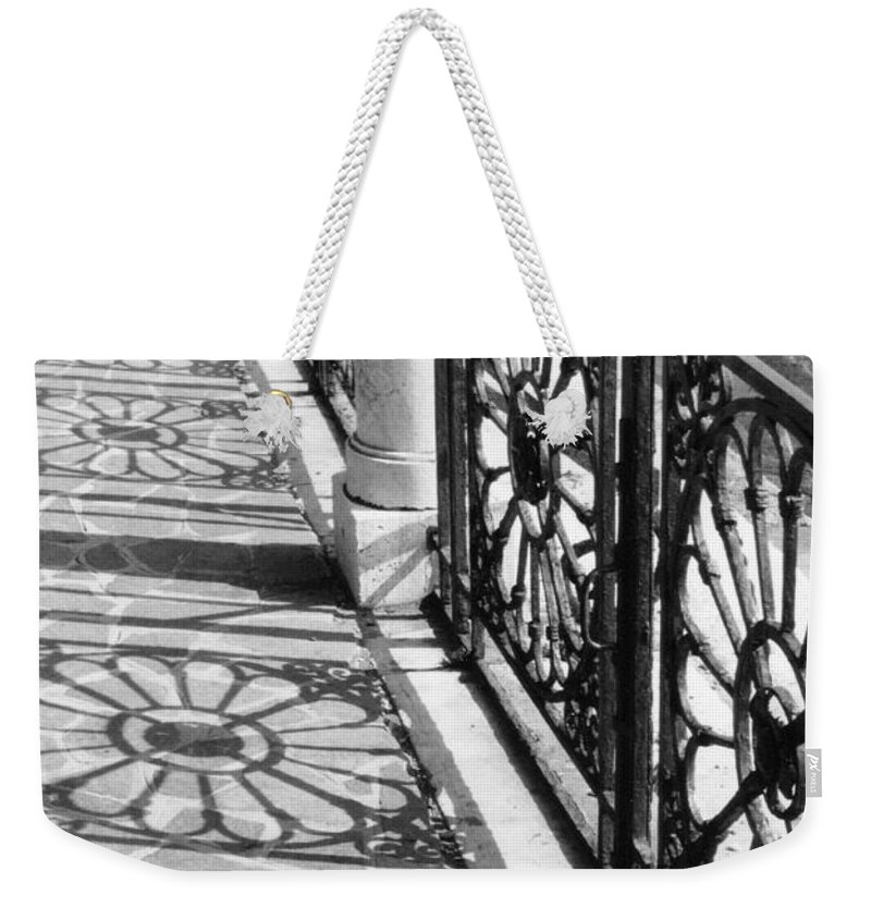 Fence Weekender Tote Bag featuring the photograph Venice Fence Shadows by Lauri Novak