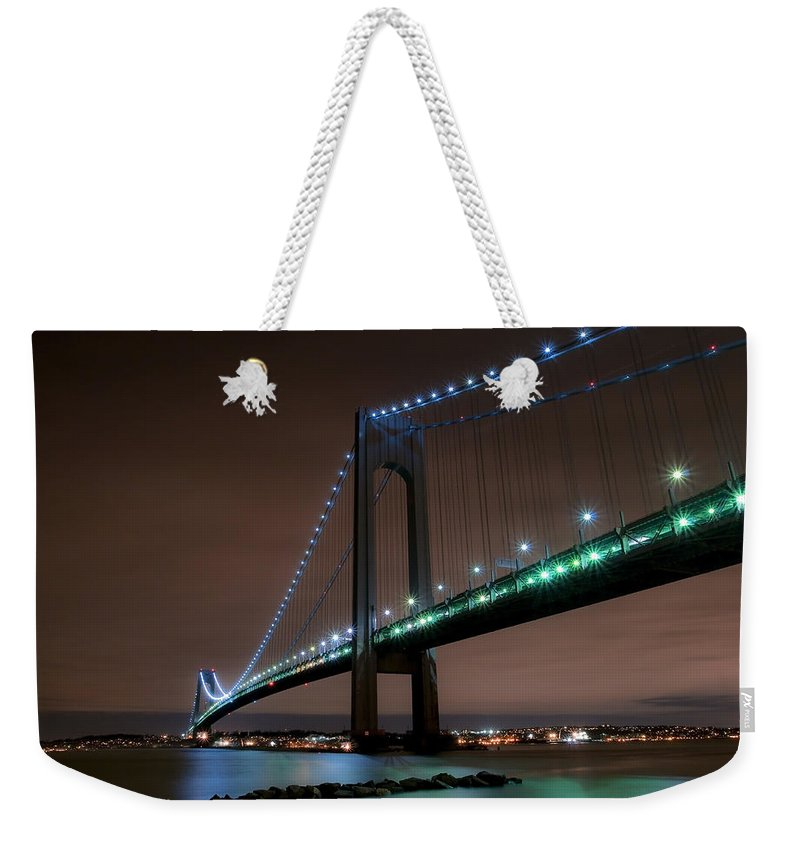 America Weekender Tote Bag featuring the photograph Verrazano-narrows Bridge by Svetlana Sewell
