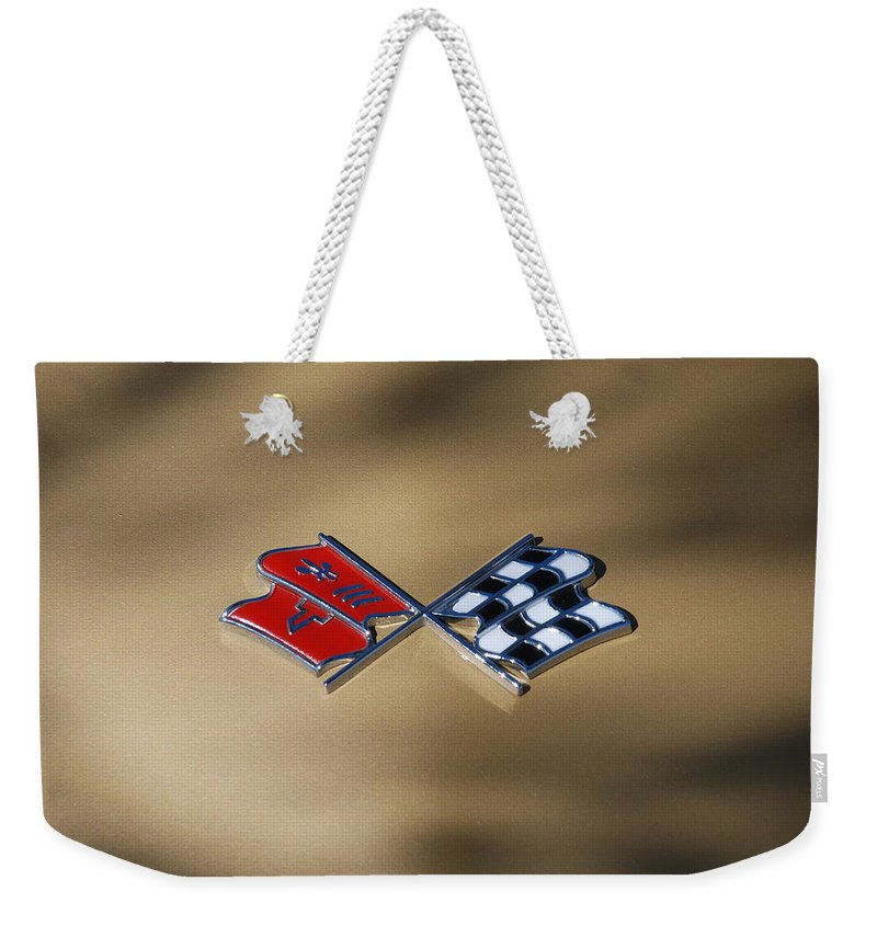 Corvette Weekender Tote Bag featuring the photograph Vette Flags by Rob Hans
