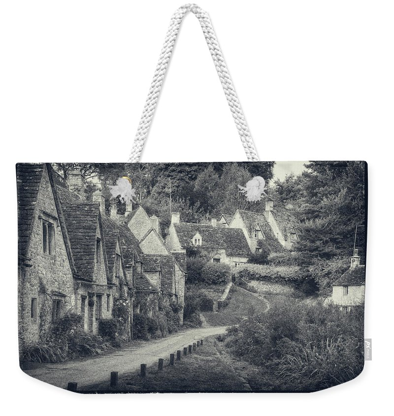 Arlington Row Weekender Tote Bag featuring the photograph Vintage Photo Effect Medieval Arlington Row In Cotswolds Country by Matthew Gibson
