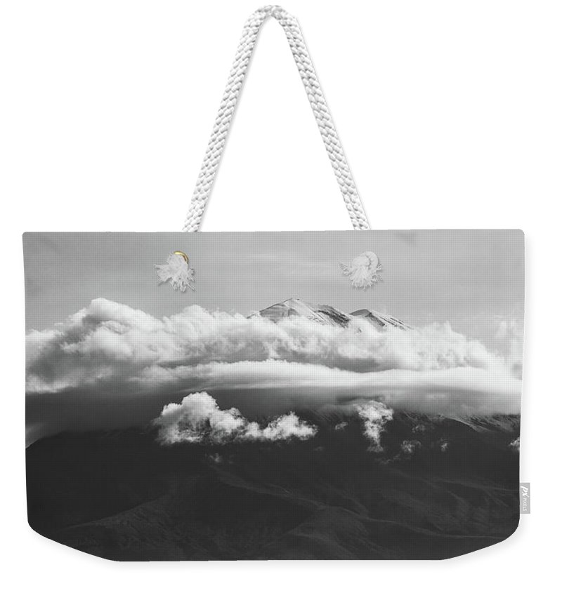 Nature Weekender Tote Bag featuring the photograph Volcano Misti In Arequipa Peru Covered By Clouds by Jiri Vondrous