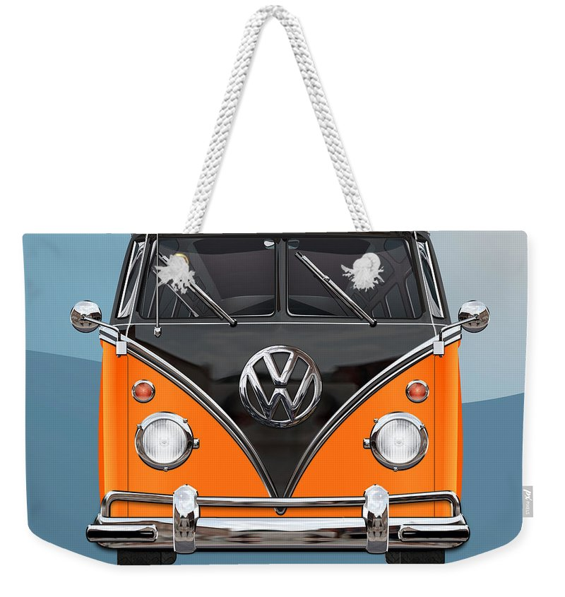 'volkswagen Type 2' Collection By Serge Averbukh Weekender Tote Bag featuring the photograph Volkswagen Type 2 - Black And Orange Volkswagen T 1 Samba Bus Over Blue by Serge Averbukh