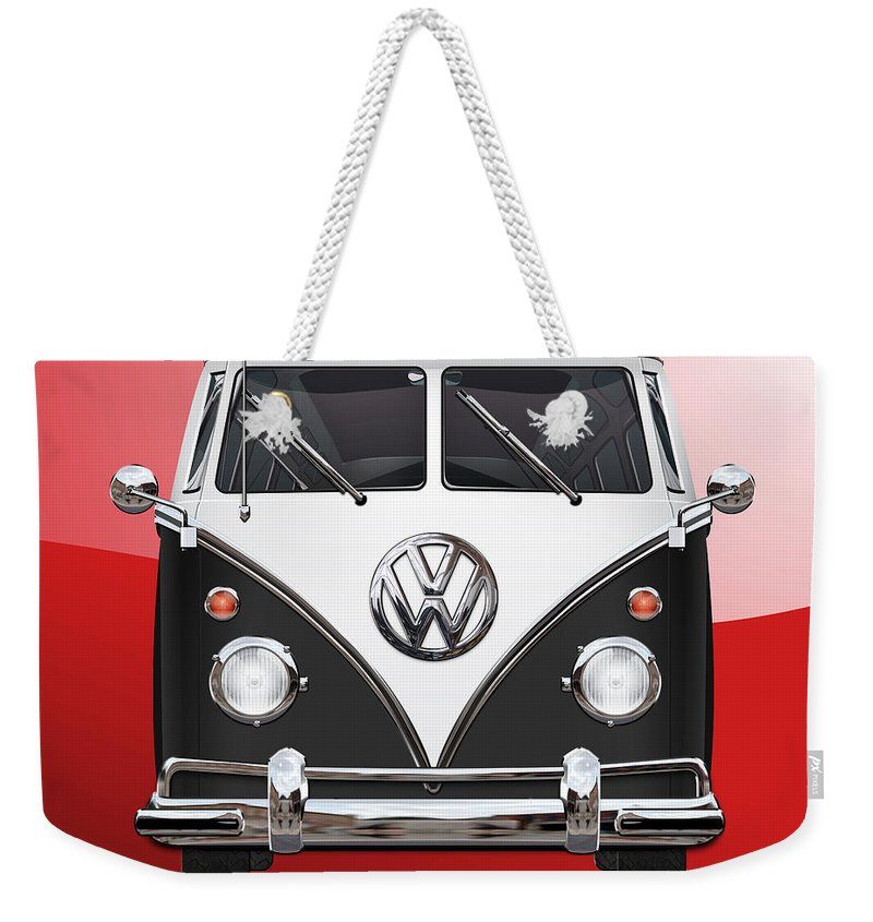 'volkswagen Type 2' Collection By Serge Averbukh Weekender Tote Bag featuring the photograph Volkswagen Type 2 - Black And White Volkswagen T 1 Samba Bus On Red by Serge Averbukh