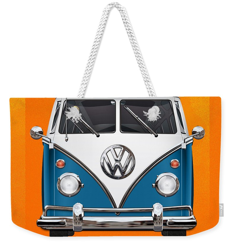 'volkswagen Type 2' Collection By Serge Averbukh Weekender Tote Bag featuring the photograph Volkswagen Type 2 - Blue And White Volkswagen T 1 Samba Bus Over Orange Canvas by Serge Averbukh