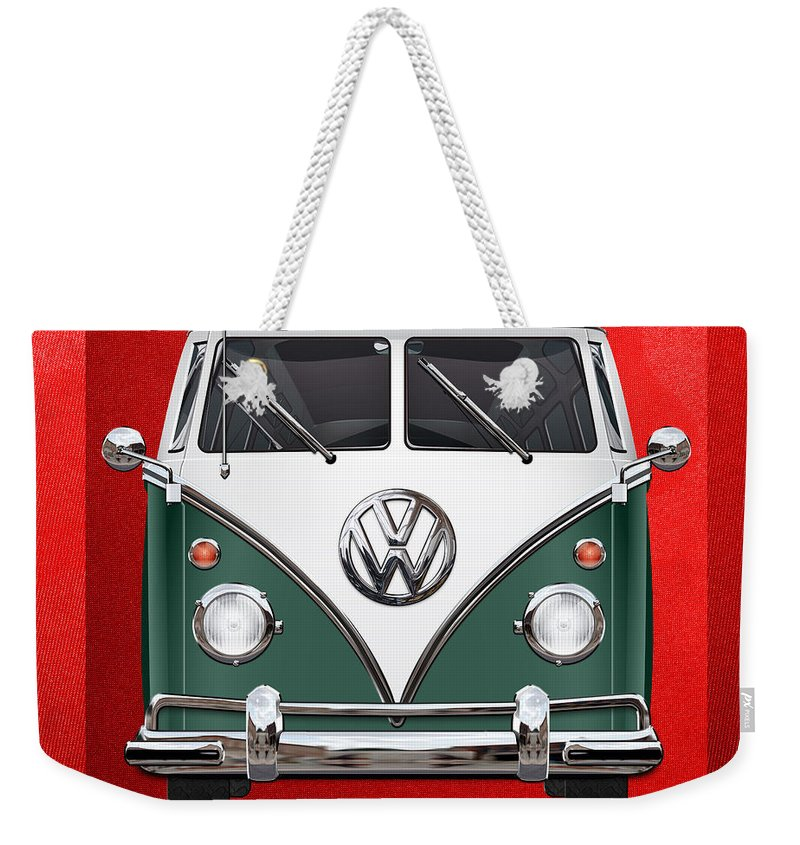 'volkswagen Type 2' Collection By Serge Averbukh Weekender Tote Bag featuring the photograph Volkswagen Type 2 - Green and White Volkswagen T 1 Samba Bus over Red Canvas by Serge Averbukh