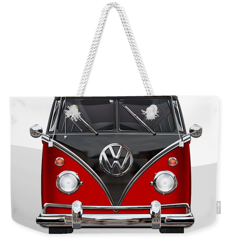 'volkswagen Type 2' Collection By Serge Averbukh Weekender Tote Bag featuring the photograph Volkswagen Type 2 - Red And Black Volkswagen T 1 Samba Bus On White by Serge Averbukh