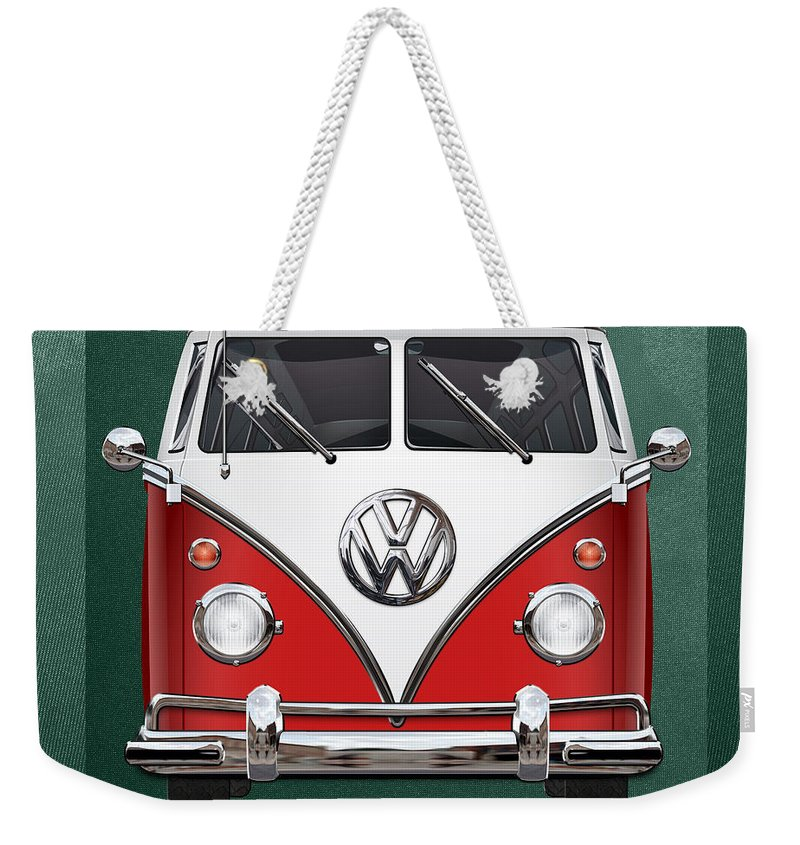 'volkswagen Type 2' Collection By Serge Averbukh Weekender Tote Bag featuring the photograph Volkswagen Type 2 - Red And White Volkswagen T 1 Samba Bus Over Green Canvas by Serge Averbukh