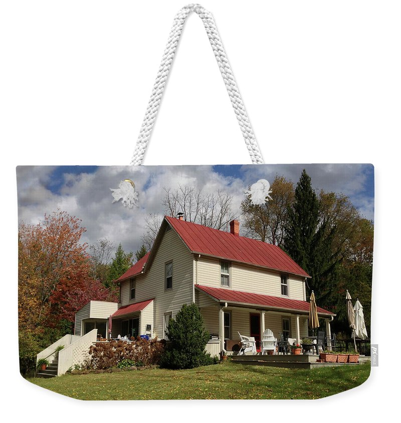 Weekender Tote Bag featuring the photograph v's House by Iris Posner