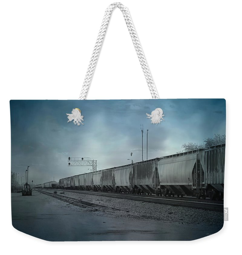 Theresa Campbell Weekender Tote Bag featuring the photograph Waiting For A Train by Theresa Campbell