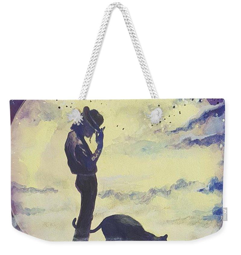 Weekender Tote Bag featuring the mixed media Walk To The Moon by Gergana Bojikova