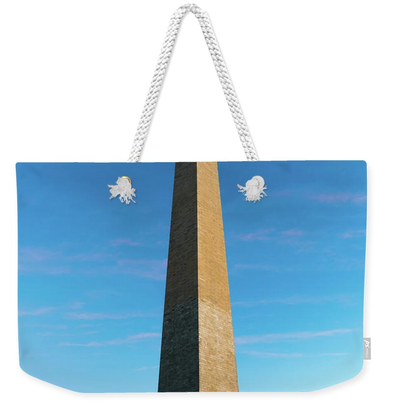 District Of Columbia Weekender Tote Bag featuring the photograph Washington Monument by Larry Marshall