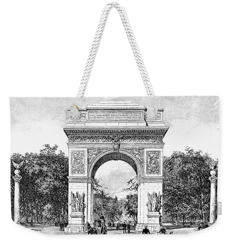 1889 Weekender Tote Bag featuring the photograph Washington Square Arch by Granger