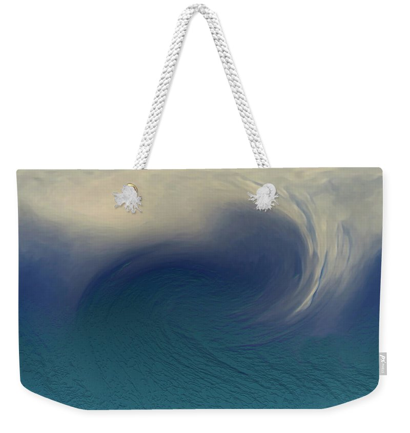 Abstract Wave Blue White Weekender Tote Bag featuring the digital art Water And Clouds by Linda Sannuti