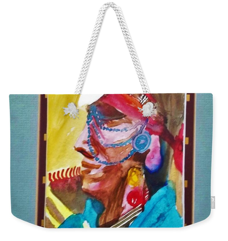 Fish Lake Weekender Tote Bag featuring the painting Water Healing Ceremonial Chief Yaz by Abelone Petersen