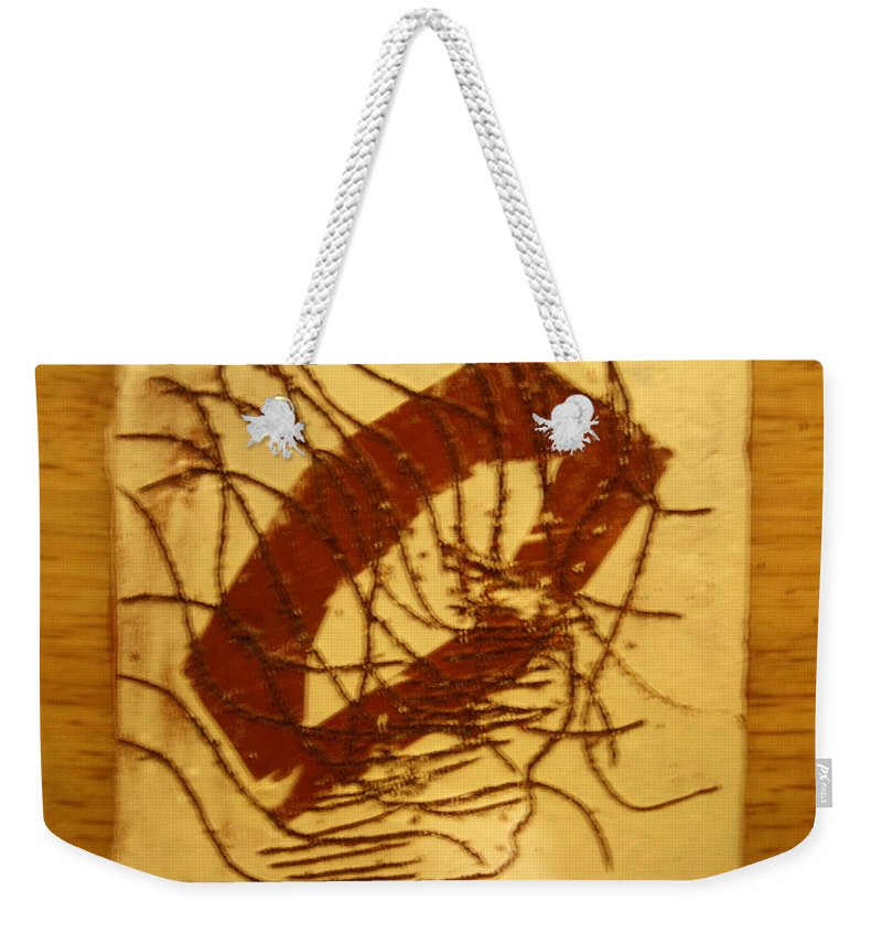 Jesus Weekender Tote Bag featuring the ceramic art Whispers - Tile by Gloria Ssali