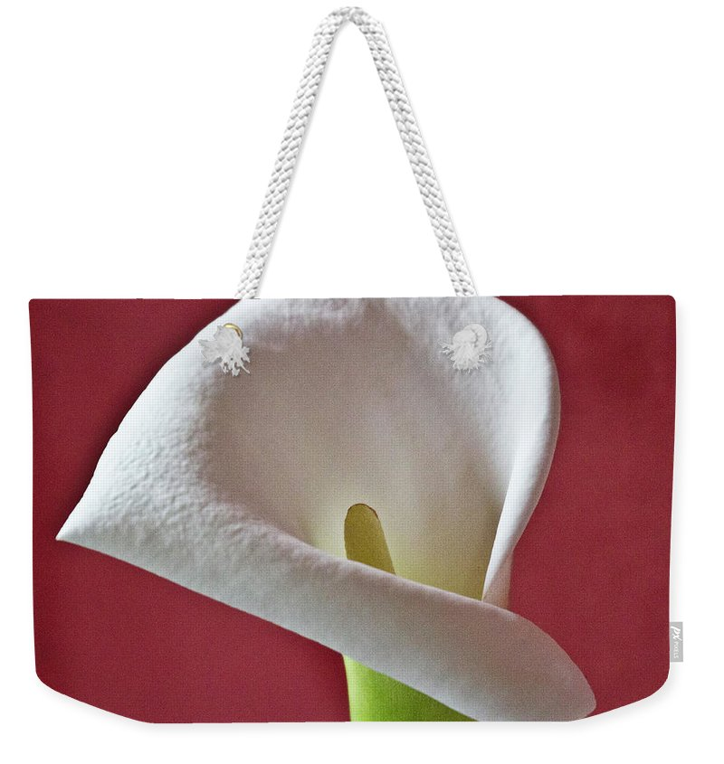 Calla Weekender Tote Bag featuring the photograph White Calla 1 by Heiko Koehrer-Wagner