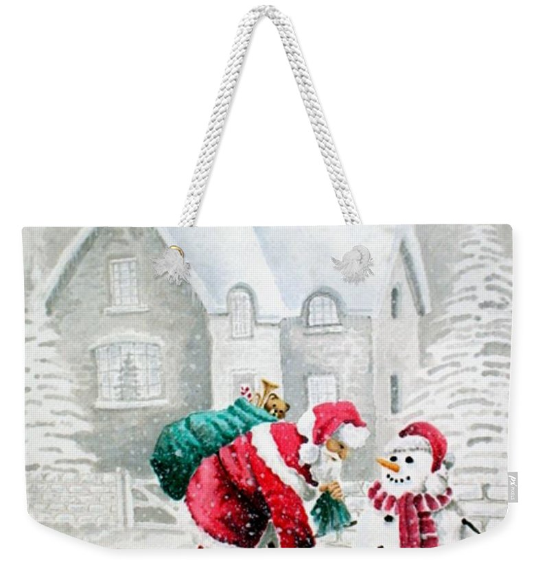 Christmas Weekender Tote Bag featuring the painting White Christmas by Jimmy Smith